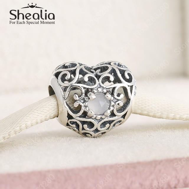 Июнь серый лунный камень камень стерлингового серебра 925 ажурные в форме сердца подвески ювелирных украшений женщины Bracelets DIY аксессуары BD303