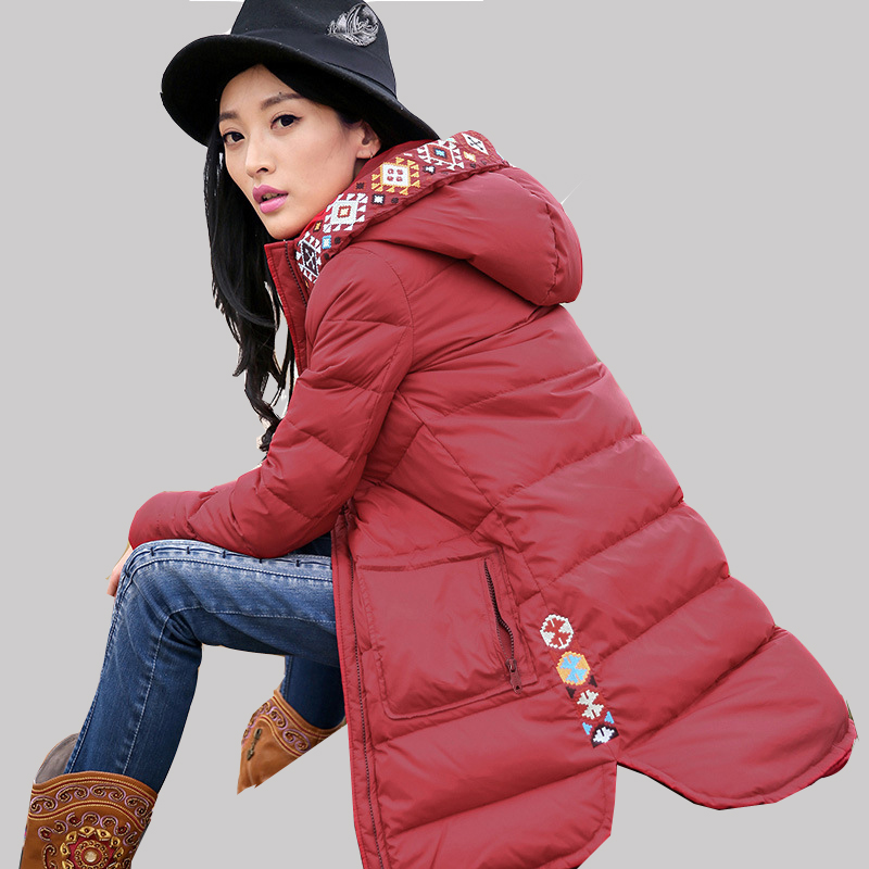 2016 Women Authentic National Wind Embroidery Duck Down Jacket Long Female Round Swing Hooded Coat Plus Size Warm Parkas JA251