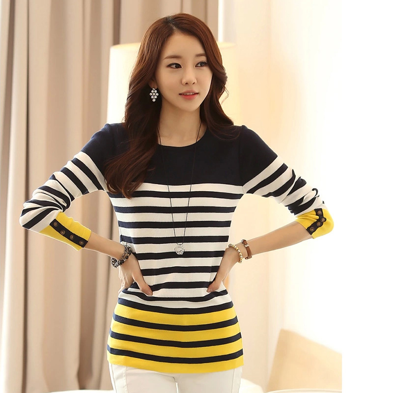 Free Shipping 2014 HOT SALE Women's Long Sleeve O-neck Striped European Fashion Knitted Pullover Casual Sweater Q3112(China (Mainland))