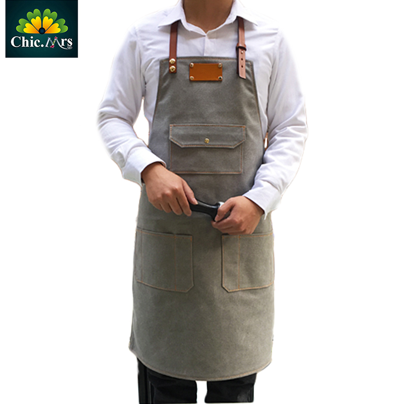 Chicmrs Handmade Personalized LOGO Customize Genuine Leather Strap Canvas Apron M LSize For Women Barber Baker 2016 High Quality(China (Mainland))