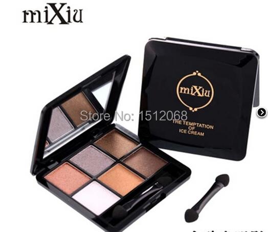 Mixiu quality product smokey eyes glamorous dazzling glaring Longlasting 6colors Eyeshadow Palette shining glitter Stereo eyes(China (Mainland))