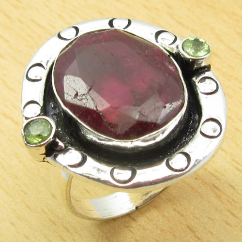 Hot Selling RUBY WELL MADE 3 Gem Ring Size US 8 ! Silver Plated Jewelry NEW(China (Mainland))
