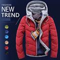 New Arrival Brand Men Warm Cotton Coat Men Padded Winter Korean Thicken Hooded Mens Red Jacket