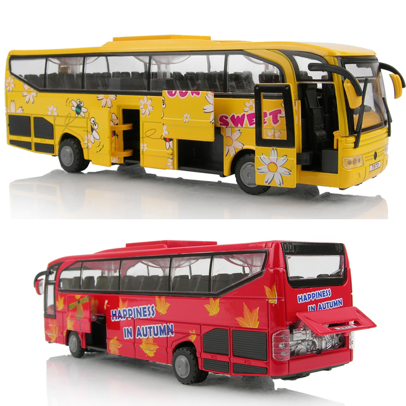 Alloy car model luxury bus large coach school bus police bus 5 open the door WARRIOR acoustooptical(China (Mainland))