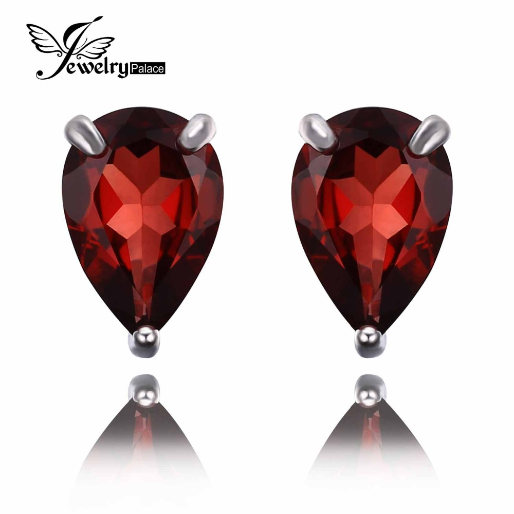 New Retro Style Natural Garnet Earring Stud 925 Sterling Silver Jewelry New Brand New Fine Jewelry 925 sterling silver jewelry(China (Mainland))