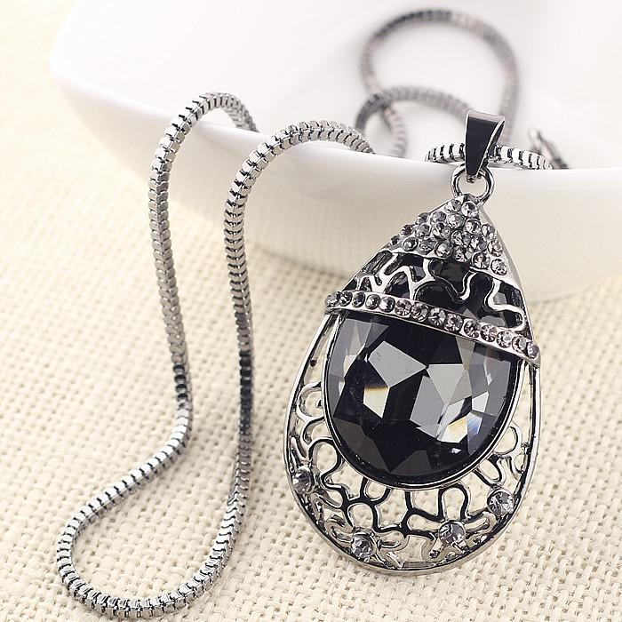 Gun black Hot Women Crystal Rhinestone Drop Chain Necklace Crystal Pendant For Women Jewelry Statement Gift 2014<br><br>Aliexpress