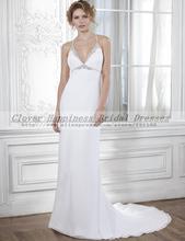 Vestido de Noiva Simples Sexy Beach Boho Wedding Dresses 2015 Halter Chiffon Wedding Dress Wedding Dress Bride Robe de Mariage(China (Mainland))