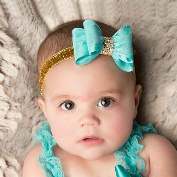 AHO098(12), Baby Infant Satin Double Layered Bow Knot With Crystal Sequin Glitter Stretch Headband Birthday/Christmas Gift(China (Mainland))