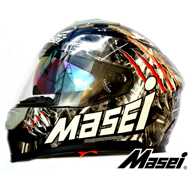 High Quality Personalized double lens motorcycle helmet Monster off-road motorcycle full face helmet Masei 833 Black(China (Mainland))