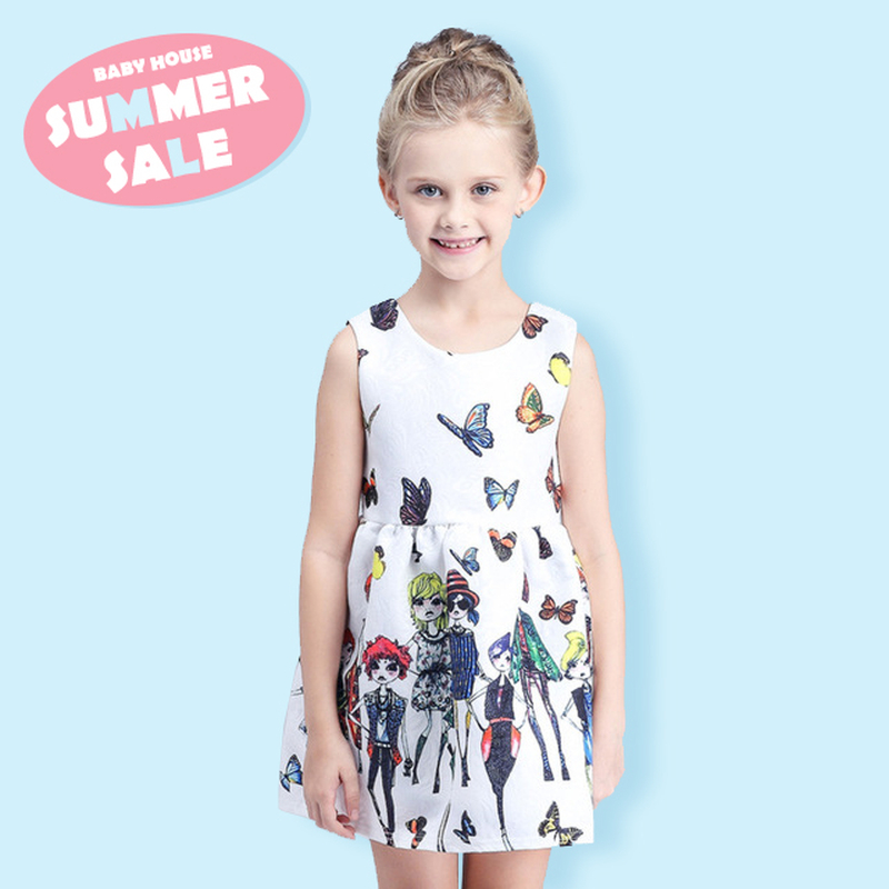 2016 New Summer Sleeveless Baby Girl 100% Cotton Clothing Butterfly Princess Dress Kids Party Dresses Girls Dress 110-150CM(China (Mainland))