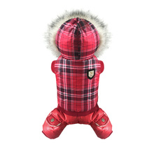 PetRadise 2016 Pet Dog Coat Jacket Jumpsuit Dogs Winter Warm Clothes with Hat Red Chequer