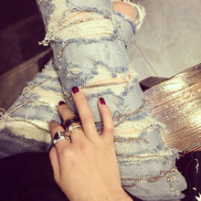 2016 Distressed Jeans Light Blue Skinny Ripped Jeans For Women Hole Washed Female Pencil Denim Pants Styling Apparel Zipper Fly