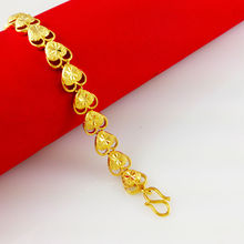 24K Gold Plated Bracelets,2014 New Fashion,Double layer Heart Lengthen Chian,Exquisite 24K Bracelets Fastness,Free Shipping,C007(China (Mainland))