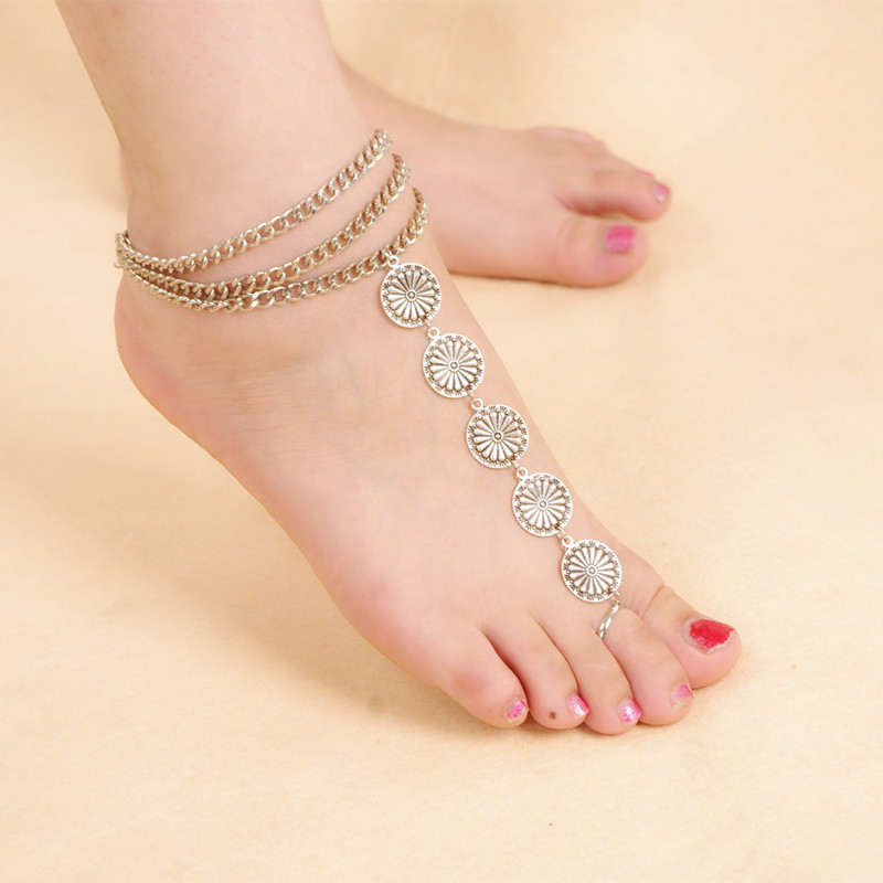 Bohemia Ankle Bracelet Summer Antique Silver Plated Alloy Carving Flower Vintage Foot Jewelry For women Bare Foot Sandals