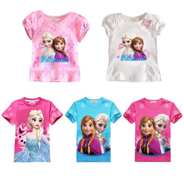 Baby girl Elsa Anna t shirt kids clothing children clothes toddler tops t-shirts figure camiseta roupa infantil kinderkleding(China (Mainland))