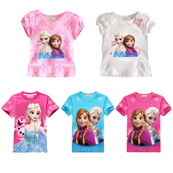 Baby girl Elsa Anna t shirt kids clothing children clothes toddler tops t-shirts figure camiseta roupa infantil kinderkleding(China (Mainland))