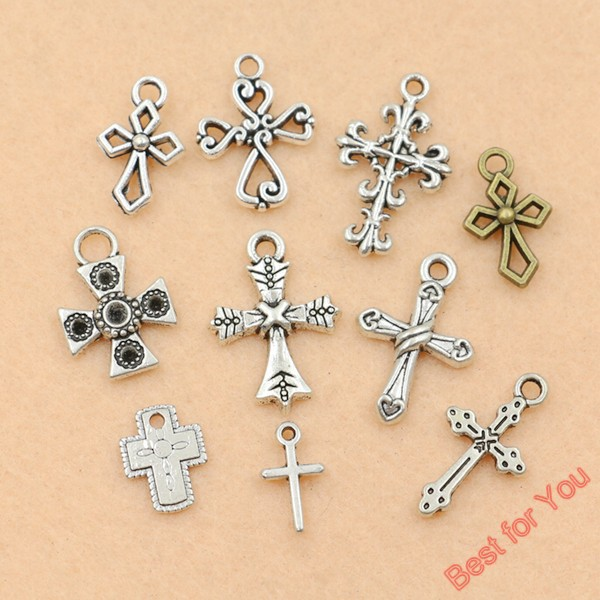 10pcs Mixed Tibetan Silver Plated Peace Hlollow Flower Cross Charms Pendants Jewelry Making DIY Charm Crafts Handmade c029