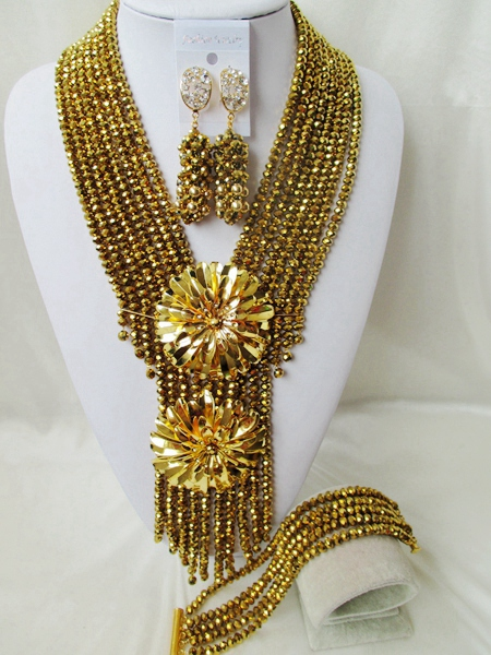 NEW Gold Plated nigerian wedding african beads jewelry set crystal beads bride jewelry GG-1088<br><br>Aliexpress