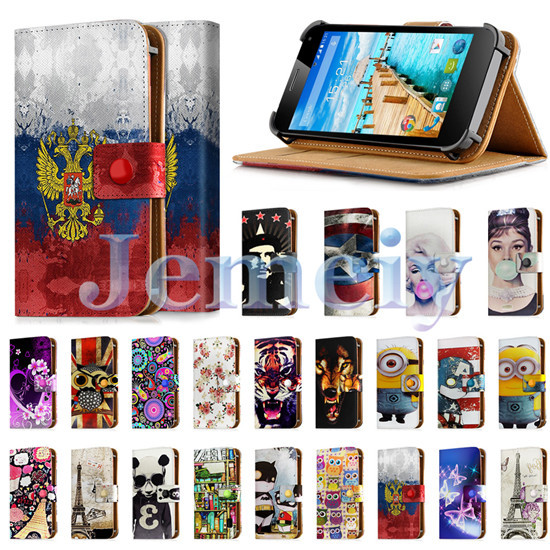 "Minion Print Universal Phone Cases For Fly IQ4417 Quad Energie 3 4.5"", PU Leather Skin Wallet Cover Flip Stand Case For iq 4417(China (Mainland))"