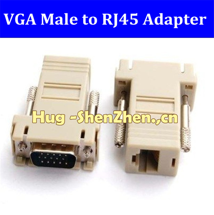 Brand New 100pcs VGA Male To RJ45f emale adapter Extender To LAN CAT5 CAT5e CAT6 RJ45 Network Cable Male Adapter(China (Mainland))