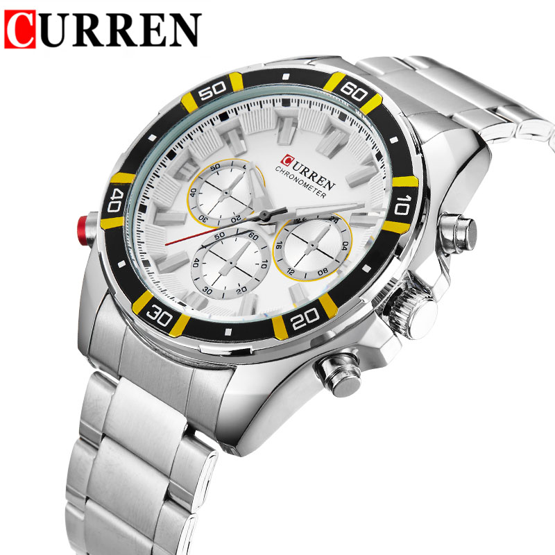 Men Business Quartz Watches Curren Luxury Top Brand Man Wristwatch Stainless Steel Mens Watch Chronograph Silver Band Male Clock(China (Mainland))