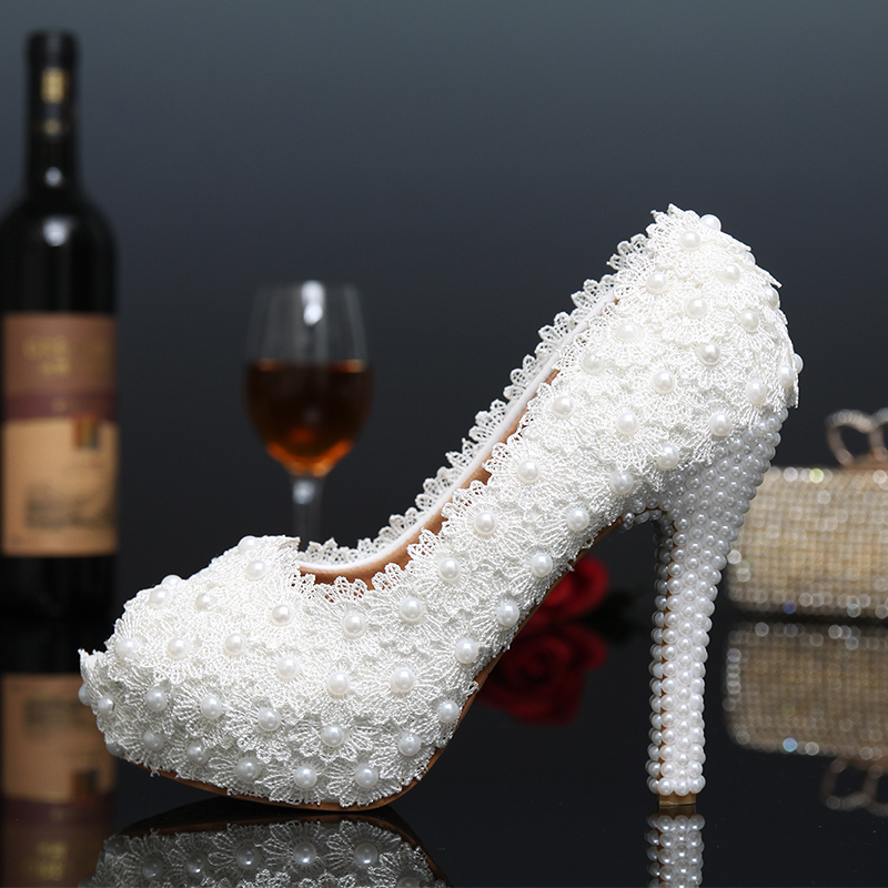 2015 New Platform Beautiful Pearl Lace White Wedding Shoes Peep Toe Women Pumps Party Dance Sexy High-Heeled Shoes size 34-39<br><br>Aliexpress