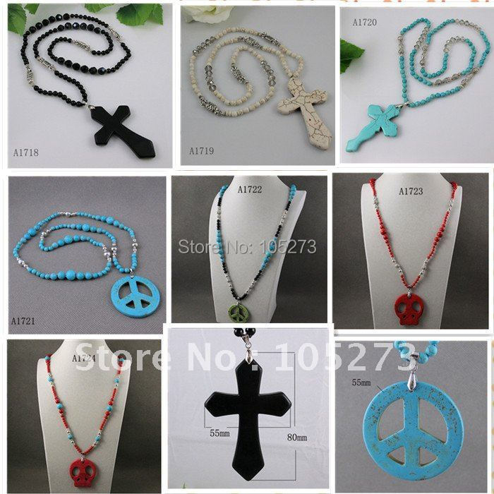 Wholesale black agate blue turquoise red coral mixes color order cross necklace peace necklace 9pcs/lot free shipping A1718a<br><br>Aliexpress