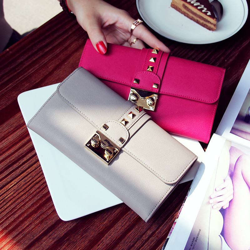 Top occident style black leather bag Bland Wallet fashion rivet leather buckle leather wallet Long Wallet for gift vintage Cluth<br><br>Aliexpress