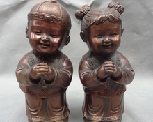 "7"" Lucky Chinese Bronze FengShui Old Dress Kid Child Yong Boy Girl Statue(China (Mainland))"