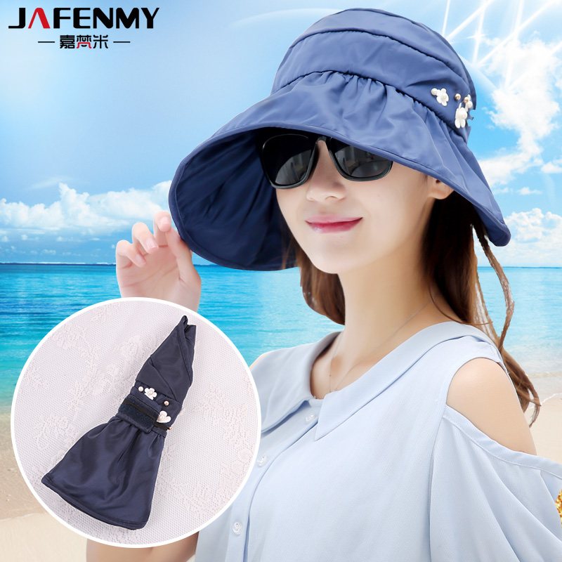 Sun Hats for women summer pearl packable sun visor hat with big heads wide brim beach hat UV protection female caps(China (Mainland))