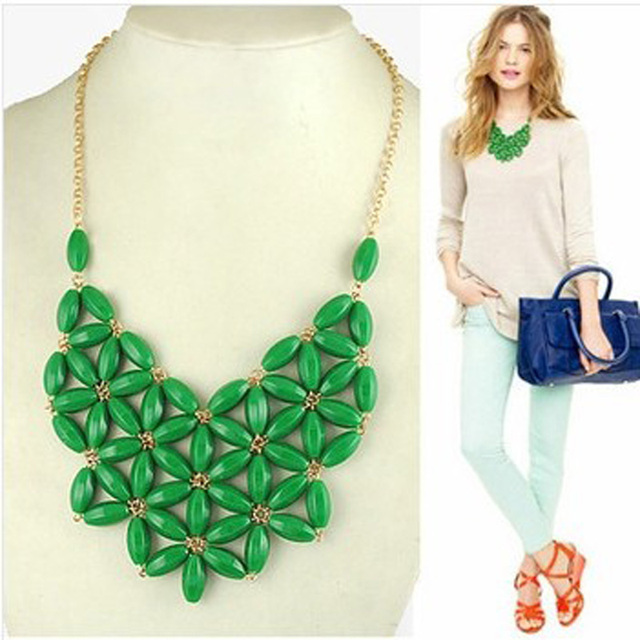 Fashion Handmade Resin Bib Statement Necklaces for  Jewelry