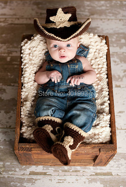 New Baby boy hat and boots Handmade Crochet newborn baby Photography Props Cow Boy Knitted Hat and Booties baby caps