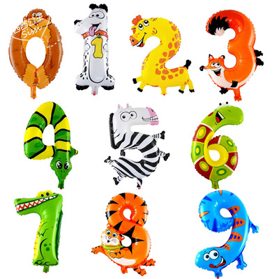 "Lucky 50pcs/lot 30*40cm Animal Shaped Number ""0-9"" Foil Balloons Aluminum Balloon Party Wedding Decoration Globos Supplies Toys(China (Mainland))"