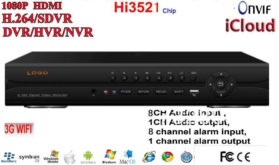 High Quanlity 8ch 960H HI3521 HD H264 RS485 ALARM ONVIF HDMI VGA 3G/WIFI ICLOUD Digital Video Recorder 9408HD(China (Mainland))