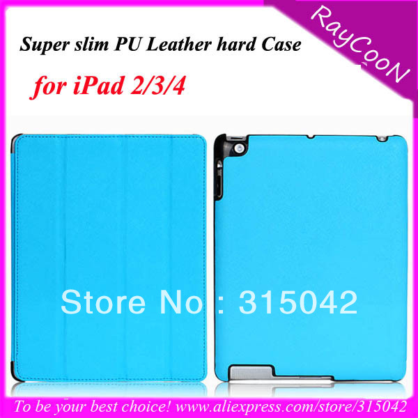 Simple Fashion wholesale 10pcs/lot  for iPad 2/3/4, 3 Folding Ultra slim &amp; Light PU Leather Stand Case, can mix 10 color<br><br>Aliexpress