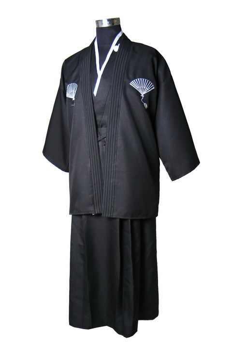 National Trends Japanese Men's Warrior Kimono With Obi Traditional Yukata Novelty Performance Dance Costumes One Size