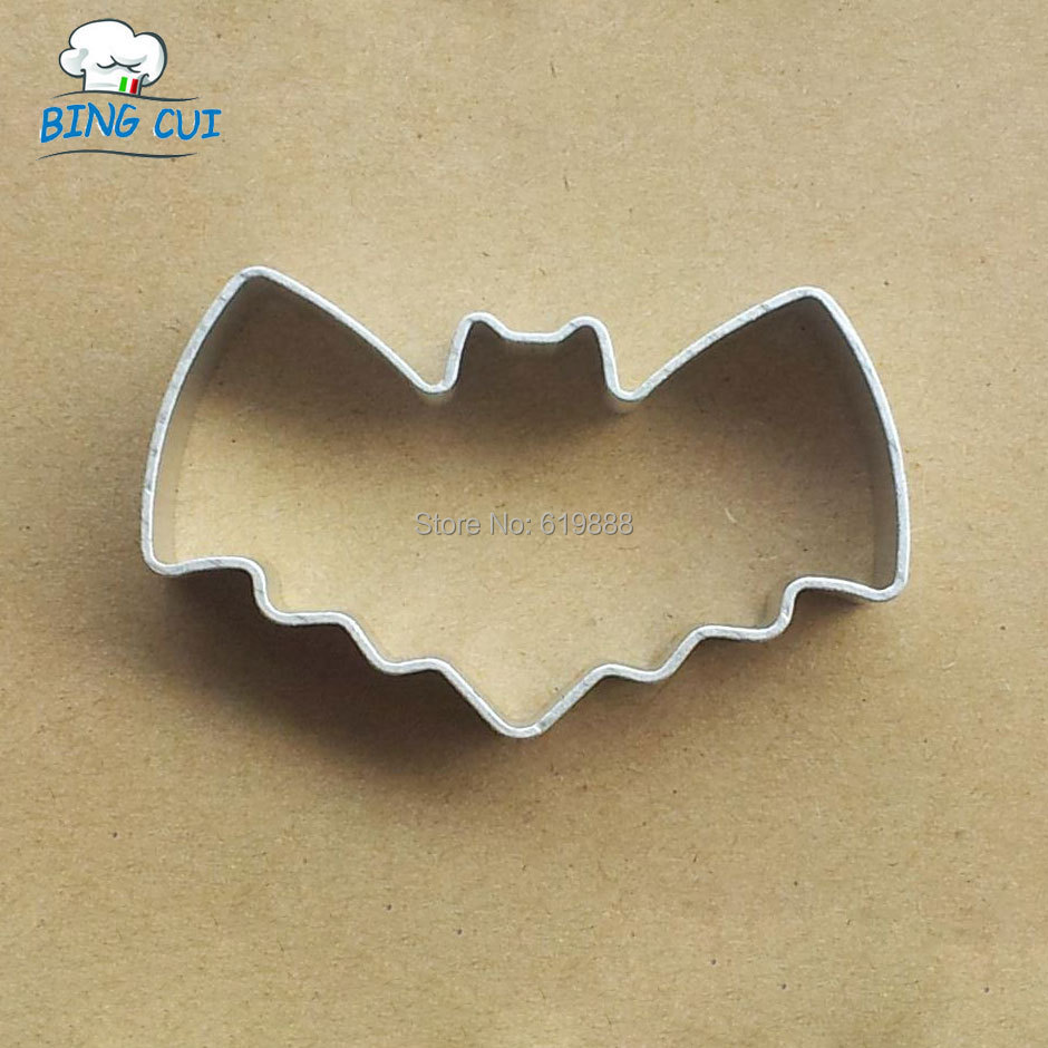 Bat Shape Aluminum Biscuit Mould Bakeware Fondant Cake Mold DIY Sugarcraft 3D Pastry Cookie Cutters MF58(China (Mainland))