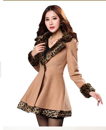 XXL big size women's slim wool coat leopard 2015 female autumn sexy long design woolen outwear coat(China (Mainland))