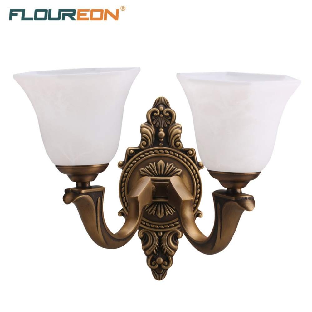 Retro European-Style Wall Lamp 20W~50W E27 Solid Brass Construction Glass Shade Decorative Light Stair Light Balcony Wall Lamps(China (Mainland))