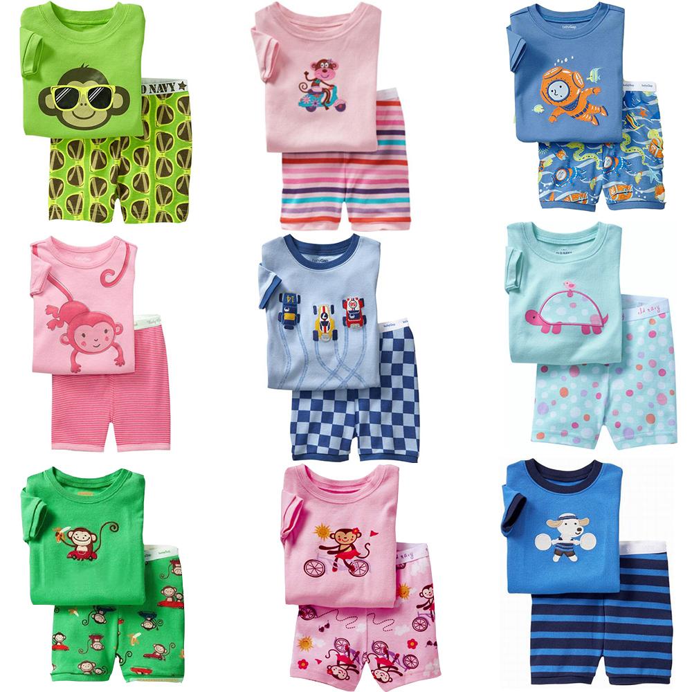 2015 Summer Kids Clothes Baby Boys Girls Clothing Short Sleeve Costume Cotton Pajamas PJS Childrens Nightdress Pyjamas Pijamas(China (Mainland))