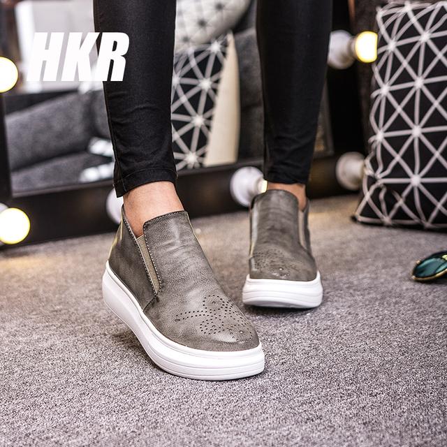 HKR 2016 весна женщины платформа клин обувь zapatos mujer, женщины плоские повседневная ...