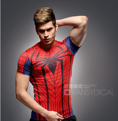 Hot sales in the summer of 2015 compressed t-shirts with short sleeves spiderman T-shirt male fitness clothes quick dry tightsОдежда и ак�е��уары<br><br><br>Aliexpress