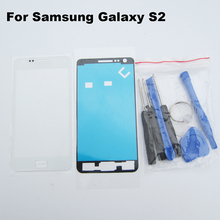 White Front Outer Glass for Samsung Galaxy S2 i9100 9100 screen touch glass lens lcd & adhesive + repair tools(China (Mainland))
