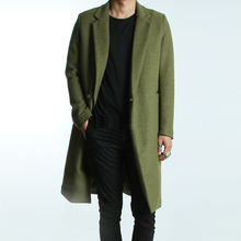 2015 Autumn winter College style street lapel woolen jacket coat men Long section casual  slim green Wool overcoat men M-2XL(China (Mainland))