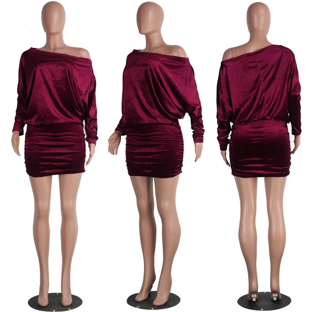 2018 Wholesale 2017 Red Velvet Dress Long Sleeve One Shoulder ...