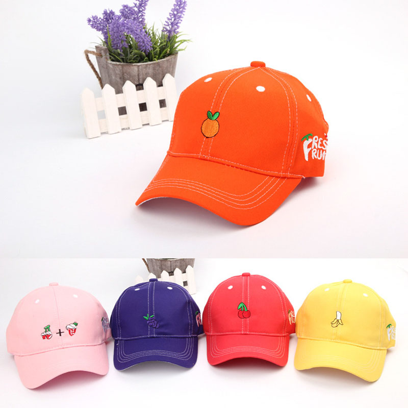 Candy Color Fruit Baby Boy Girl Summer Hat Adjustable Cotton Baseball Cap Baby Kids Hats for 1-3 Years(China (Mainland))