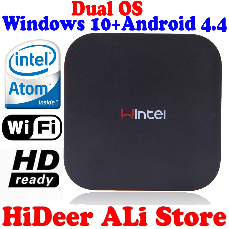 2016 Windows 10 OS and Android 4.4.4(Rooted) Dual system MINI PC Intel Quad Core CPU 2G+32G wintel TV Box multimedia player(China (Mainland))