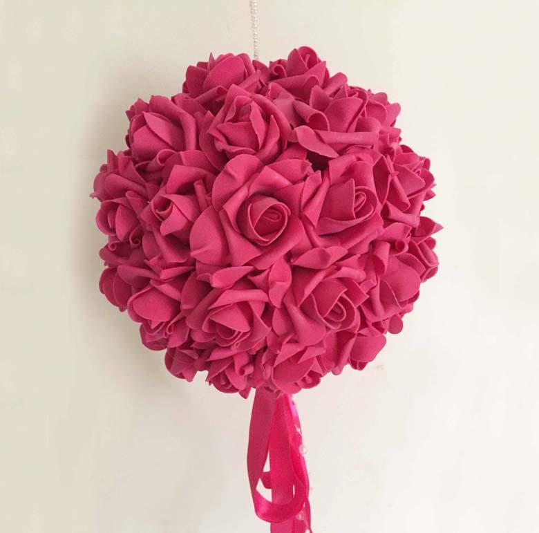 Free EMS Shipping 9pcs 26cm Party Wedding Centerpiece Decoration Artificial PE Foam Rose Kissing Flower Balls(China (Mainland))