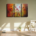 large 3 panel canvas wall art Abstract cheap red poppy colorful handmade oil painting set on