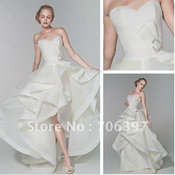 Popular  free shipping sweetheart neckline  front short long back satin edge bridal dress